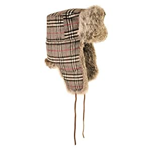 Mad Bomber Mad Trooper Hat with Real Fur, Grey Plaid Wool Trooper with Grey Fur