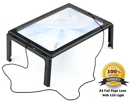FiveJoy-Hands-Free-Page-Magnifier-for-Reading-and-Crafting-with-LED-Lights-3X-Magnification-Has-Flip-Out-Legs-Standing-over-Document-Comes-with-Neck-Cord-to-Hang-around-Neck