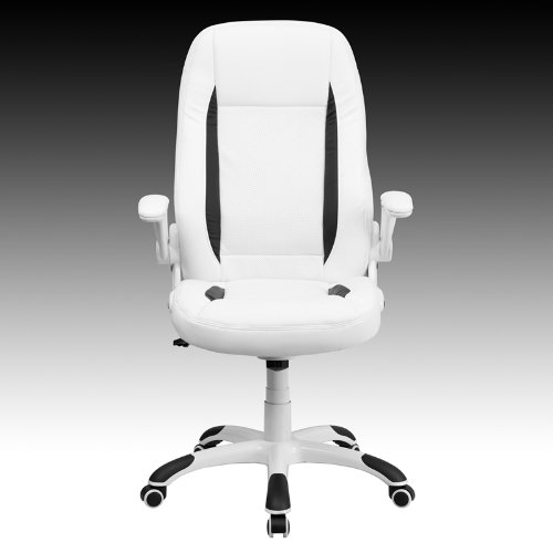 FlashFurniture CH-CX0176H06-WH-GG High Back White Leather Executive Office  Chair with - FlashFurniture CH-CX0176H06-WH-GG High Back White Leather