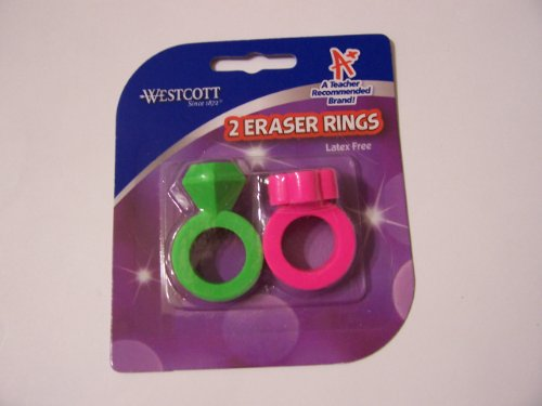 Westcott Latex Free 2 Ring Erasers ~ Green Diamond & Pink Flower Erasers - 1