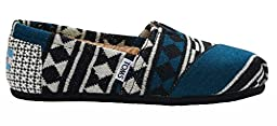 Toms Women\'s Classic Sheerling Lined Alpargata in Black White Knit Shearling, 7.5