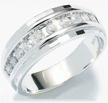 Men Diamond Wedding Ring Engagement Band 10k White Gold (1/4 Carat), Size 12