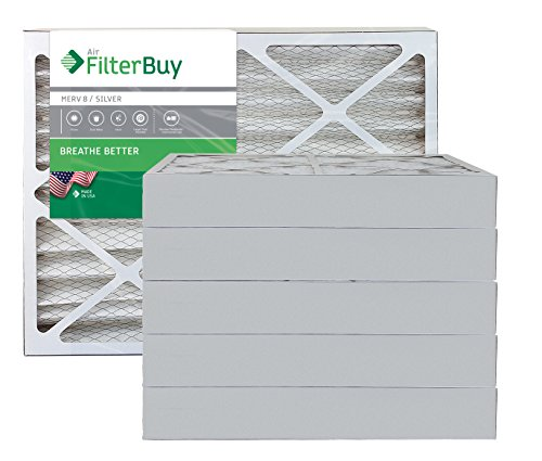 AFB Silver MERV 8 15x30x4 Pleated AC Furnace Air Filter. Pack of 6 Filters. 100% produced in the USA.