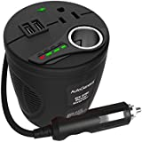 Power Inverter Autogeneral 150W Cup Inverter DC 12V to 115V AC Adapter Car Inverter Smart Car Battery Voltage Detection Car Charger with Max 4.8A Dual USB Ports Cigarette Lighter Socket and AC Outlet