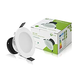 LE® 4W LED Recessed Ceiling Lights, 30W Halogen Bulb Equivalent, Ø75mm,Daylight White, Recessed Light, Downlight, Pack of 4 Units from Lighting EVER