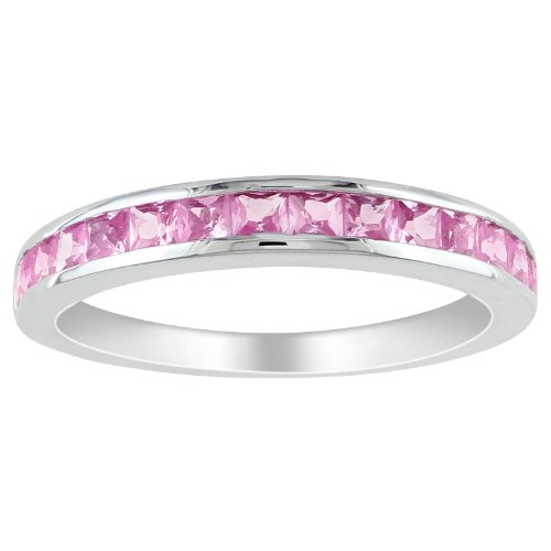 Sterling Silver 3/4 CT TGW Created Pink Sapphire Eternity Ring