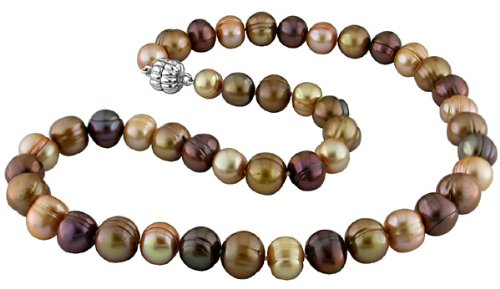 Sterling Silver Multi-Brown Cultured Freshwater Pearl Necklace