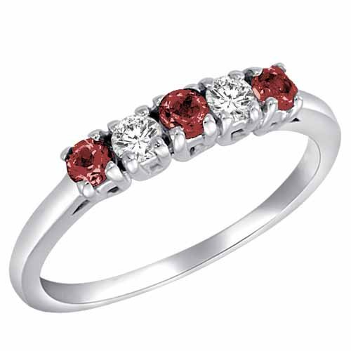 Ryan Jonathan 14K Gold Round 5 Stone Diamond and Ruby Band Ring (2/5 cttw)