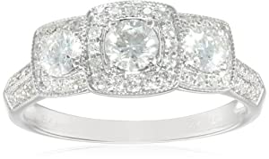 Past Present Future 14K White Gold 1.0Cttw Diamond Engagement Ring (H-I Color, I1-I2 Clarity), Size 7 from The Aaron Group