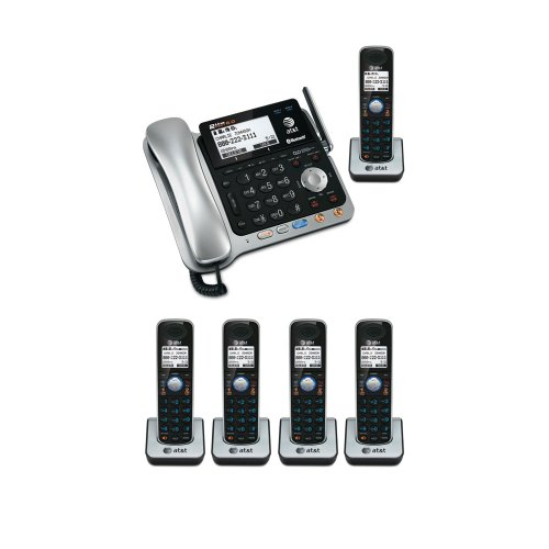 At&T Tl86109 Dect 6.0 2-Line Bluetooth Cord-Cordless Phone System With 5 Expandable Handsets Bundle