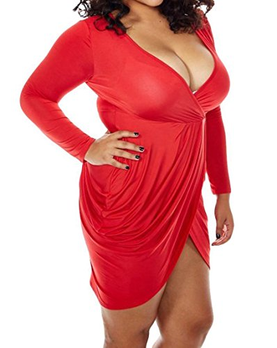 POSESHE Womens Plus Size Deep V Neck Bodycon Wrap Dress with Front Slit XL Red