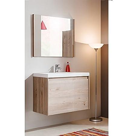 Set da bagno JENNY in legno di quercia 60cm & 80cm lavabo - PAESE rovere, 80 cm