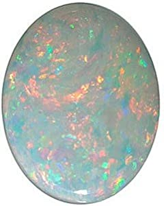 Standard Size Genuine Loose Oval Shape Cabochon White Fire Opal Gemstone Grade GEM, 9.00 x 7.00 mm in Size, 1.1 carats