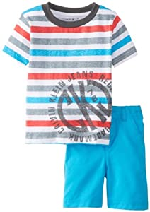 Calvin Klein Boys 2-7 Toddler Crew Neck Stripes Tee with Shorts by Calvin Klein