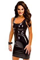 Amour Gothic Strapless Sleeveless Dress Metallic Wetlook Clubwear Stripper (P3112:Black)
