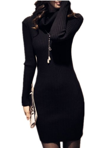 Women Vintage Cowl Neck Stripe Kint Stretchable Elasticity Long Sleeve Slim Fit Sweater Dress( Black, One Size)