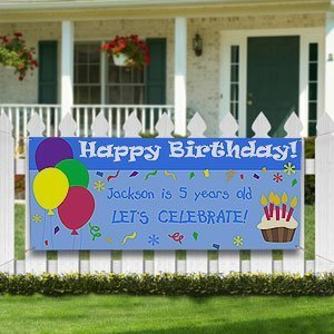 Personalized Kids Birthday Party Banner - Balloons & Cupcakes