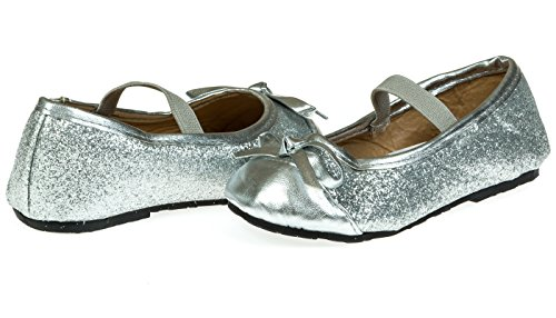Chatties Toddler Girls Fine Glitter Ballet Flats Size 9/10 - Silver