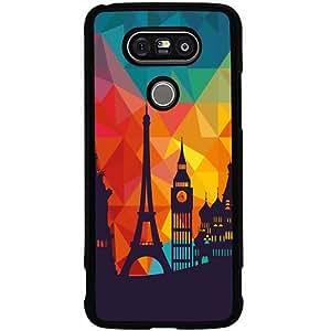 Casotec Colored Paris Design 2D Hard Back Case Cover for LG G5 - Black