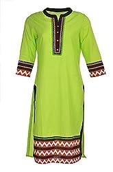 Artisan Women's Cotton Straight Kurta (CZF10031_L, Green & Black, L)