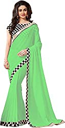 Fableela Women's Chiffon Saree with Blouse Piece (Green)