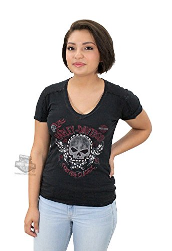Harley-Davidson Womens Light Up The Dark Willie G Skull Mineral Wash Black Short Sleeve T-Shirt - XL