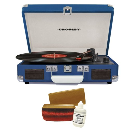 Crosley Cr8005A-Bl Cruiser Portable Turntable (Blue) W/ Record Cleaning Kit