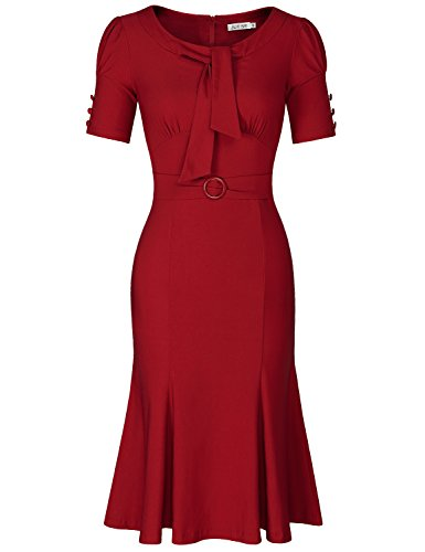 JUESE Women's 50s 60s Formal or Casual Party Pencil Dress (XXL,Burgundy)