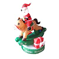 5 Foot Animated Christmas Inflatable Santa Claus on Rocking Horse Yard Decoration