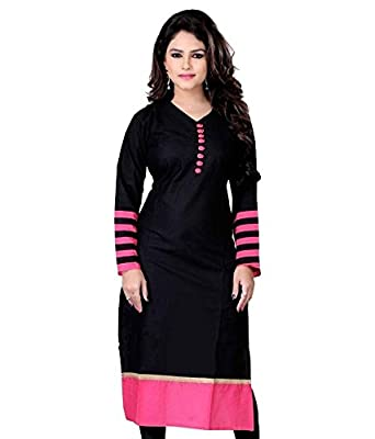 Varibha Women's Cotton Kurti (IOKU00003AAA_Z Black_Free Size Altrable Till 42 or XL)