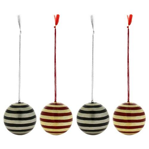 Valentine Ornaments Handmade Paper Mache Ball Decor 3 Inch Set Of 4
