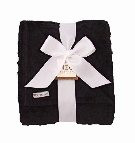 MEG Original Minky Dot Baby Blanket Black/Black - 1