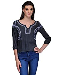Kiosha Grey Black Half Sleeve Embroidered Top