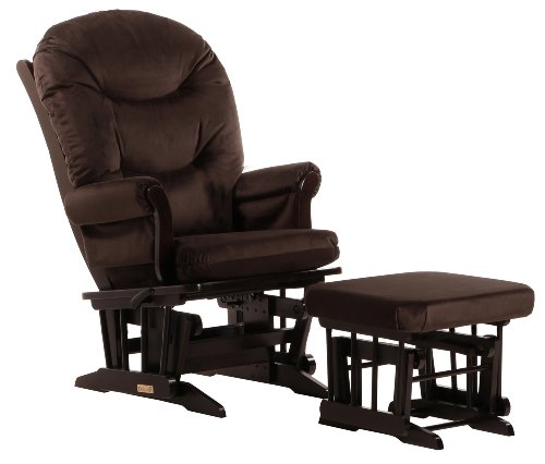 Dutailier Round Back Cushion Design Sleigh Glider Multiposition, Recline and Ottoman Combo, Brown - 1