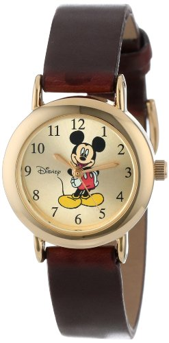 Disney Women's MCK614 Mickey Mouse Goldtone Case Brown Strap Watch