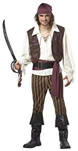 California Costumes Men's Rogue Pirate Costume,Brown,Large