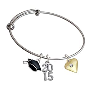 Large Clear Crystal Birthstone Gold Heart Class of 2015 Graduation Cap Expandable Bangle Bracelet