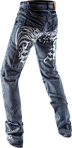 jeansian Moda Pantaloni Casual Uomo Drago Tatuaggio pattern Uomini Denim Jeans J019 Blue W36