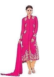 MD Textiles Women Georgette Dress material (Jiya_3004_Pink_Pink_Free Size)