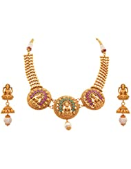 JFL - Traditional Ethnic Temple Laxmi Goddess One Gram Gold Plated Designer Necklace Set/ Jewellery Set Studded...