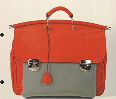 Locman LOCMAN: RED SUEDE DOUBLE GUSSET BRIEFCASE