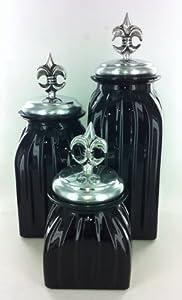 Black Fleur De Lis Kitchen Canister Set Glass