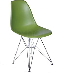 Molded plastic side chair with eiffel metal legs green chairs