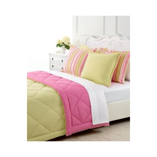 Reversible greenwich paisley amp stripe comforter pink amp lime green