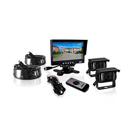 Pyle PLCMTR72 Weatherproof Rearview Backup Camera and Monitor Video System for Bus, Truck, Trailer and Van (2 Cams, 7'' Monitor, Dual DC 12-24V) (Commercial Monitor compare prices)