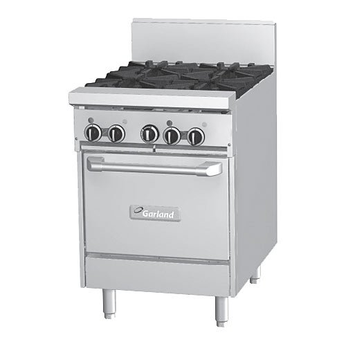 """Garland Gfe24-4L 4 Burner 24"""" Gas Range W/ Flame Failure Protection & Space Saver Oven - Electric"""