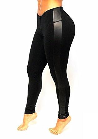 Black-black leather on side bon bon up women's leggings Internal body