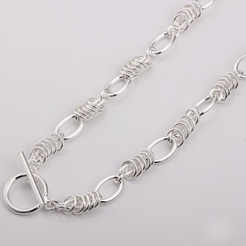 New Fashion Jewelry Classic Lady Women T bar 925 Circle Necklace Sterling Silver Men GIFT + velvet pouch