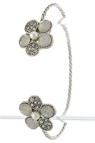 Karmas Canvas Faux Gem Floral Tip Bracelet (Clear/Silver) front-1000320