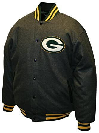 NFL Mens Green Bay Packers Charcoal Dual Edge Reversible Wool Jacket by MTC Marketing, Inc